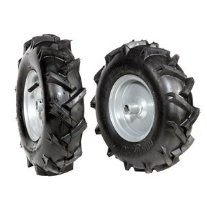 "Pair of tyred wheels 3.50x6"" - Fixed disc"