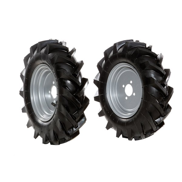 Pair of 4.00-8 tyred wheels - Fixed disc