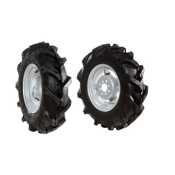 Pair of tyred wheels 5.00x10 - Adjustable disc - 6920 9003B